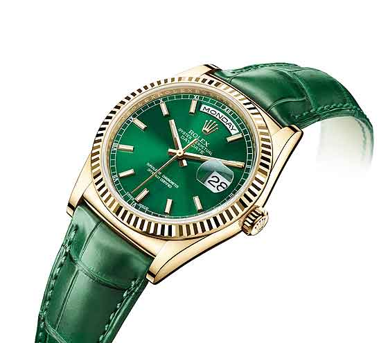 Rolex_Day-Date_Yellow_gold-Green_Replica Watches