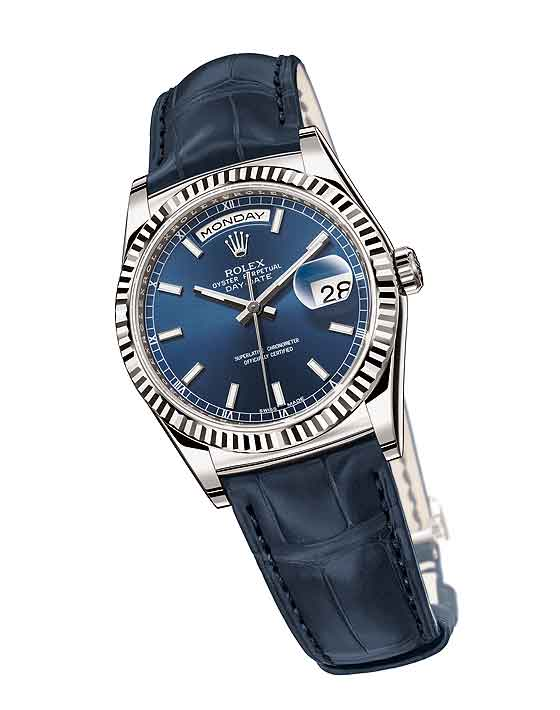 Rolex_Day-Date-White_gold_Blue_Replica Watches
