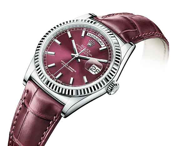 Rolex_Day-Date_White_gold-Cherry_Replica Watches