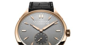 Roes Gold Chopard L.U.C Qualité Fleurier Leather Strap Fake Watch Ref.161896-5003