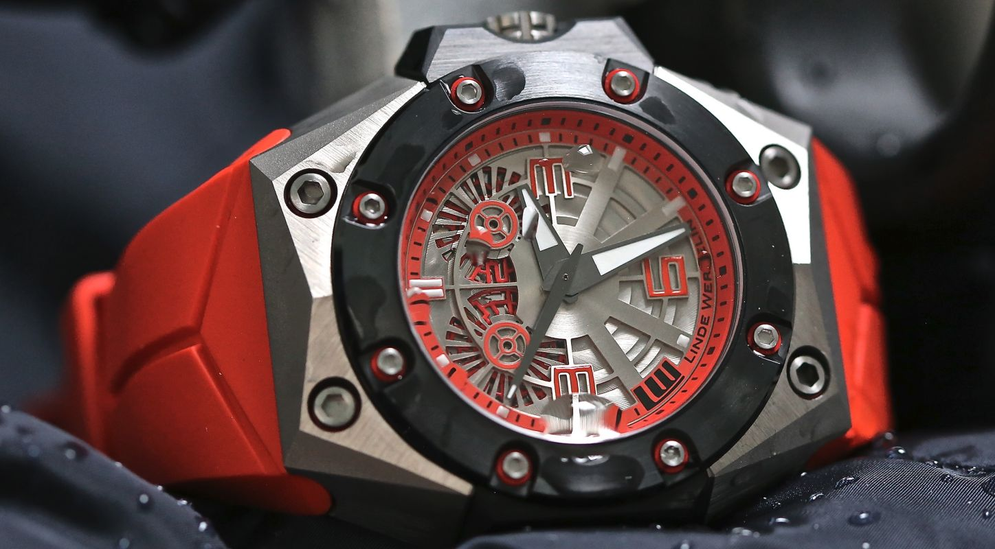 Titanium Linde Werdelin Oktopus II Double Date Red Watch For Men